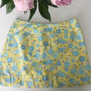 Lilly Pulitzer Floral Lion Mini Yellow Skirt 6